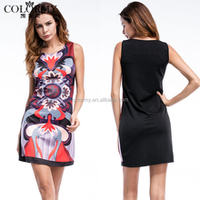 Best quality casual clothes sleeveless bodycon women cocktail dresses
