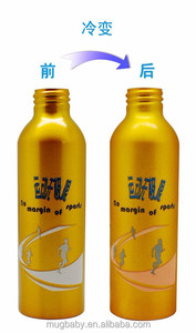 Summer Narrow Mouth Screw Cap Aluminum Alloy Sport Bottle Cold Color Changing Bottle