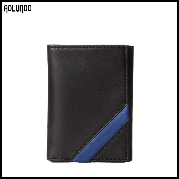 Blue corner diagonal band custom genuine leather trifold mens wallet