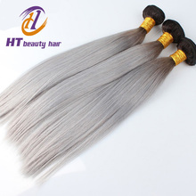 2015 Hottest NEW Silver Grey Ombre Human Hair Ombre Silver Grey Hair Weave 1B/gray Two Tone Brazilian Straight Hair