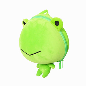 SUPERCUTE wholesale new design plush bags for kids, cute cartoon animal kids school bag plush frog backpack