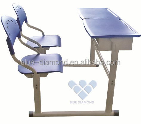 Durable school furniture stainless metal student table double desk and chair
