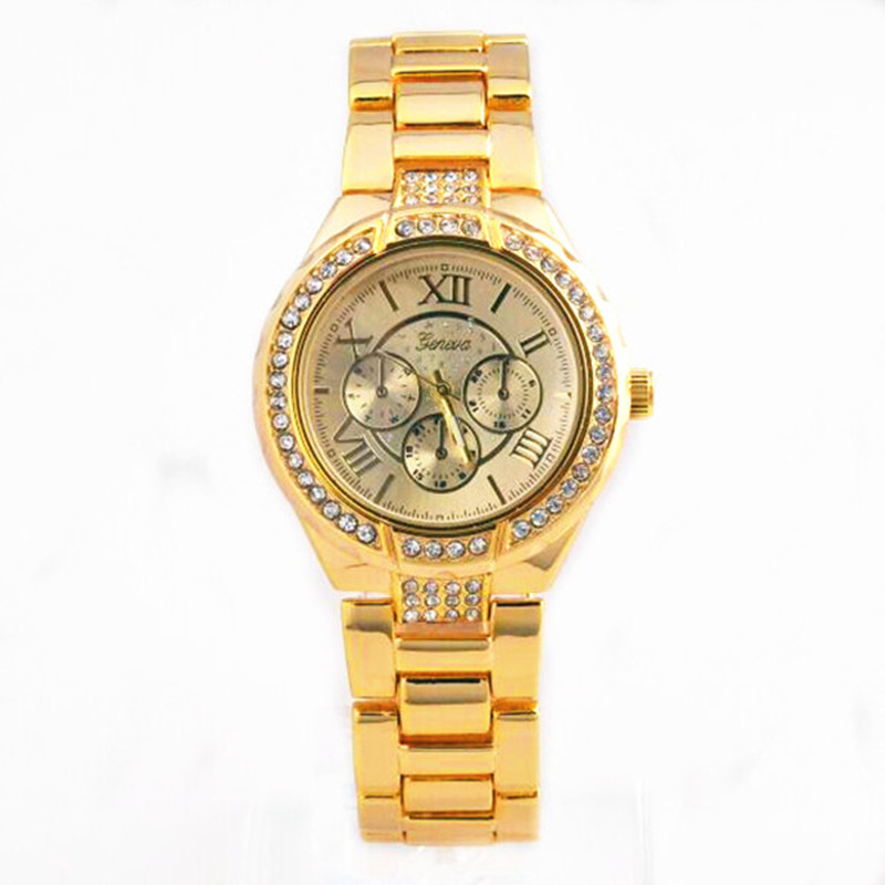 2016 New Chronograph Unisex girlfriend Style Designer Metal Link Watch Geneva lady Watches for Women Rose Gold Relogio Masculino