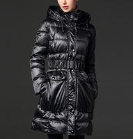 Thick Medium-long Down Parka Hooded Down Coat With Belt