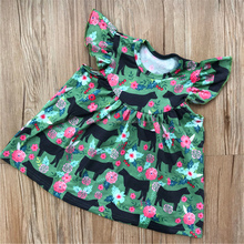 2018 newest cow print flutter sleeve dress girls farm animal cotton pearl dress wholesale