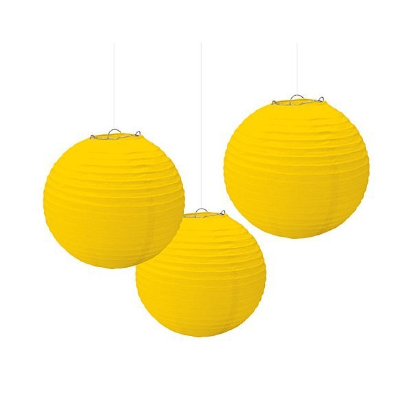 Hot sell Paper Lantern yellow Round Lantern Wedding Party New Year Event Christmas Decorations paper hanging decorations