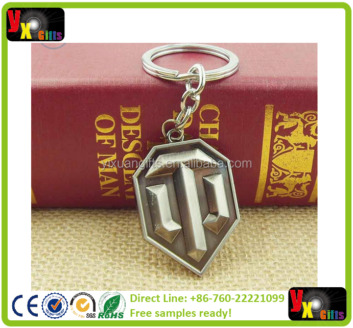 2015 Fashion Online Game World of Tanks WOT Metal Keychain Pendent For Men's Key Chain Key Ring Gift