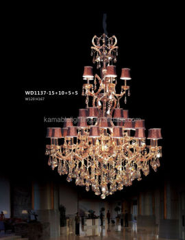 Luxury 5 star hotel large brass crystal chandelier pendant lighting