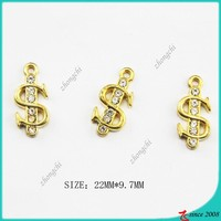 14K Gold Tone Dollar Sign Charm For Jewelry Making
