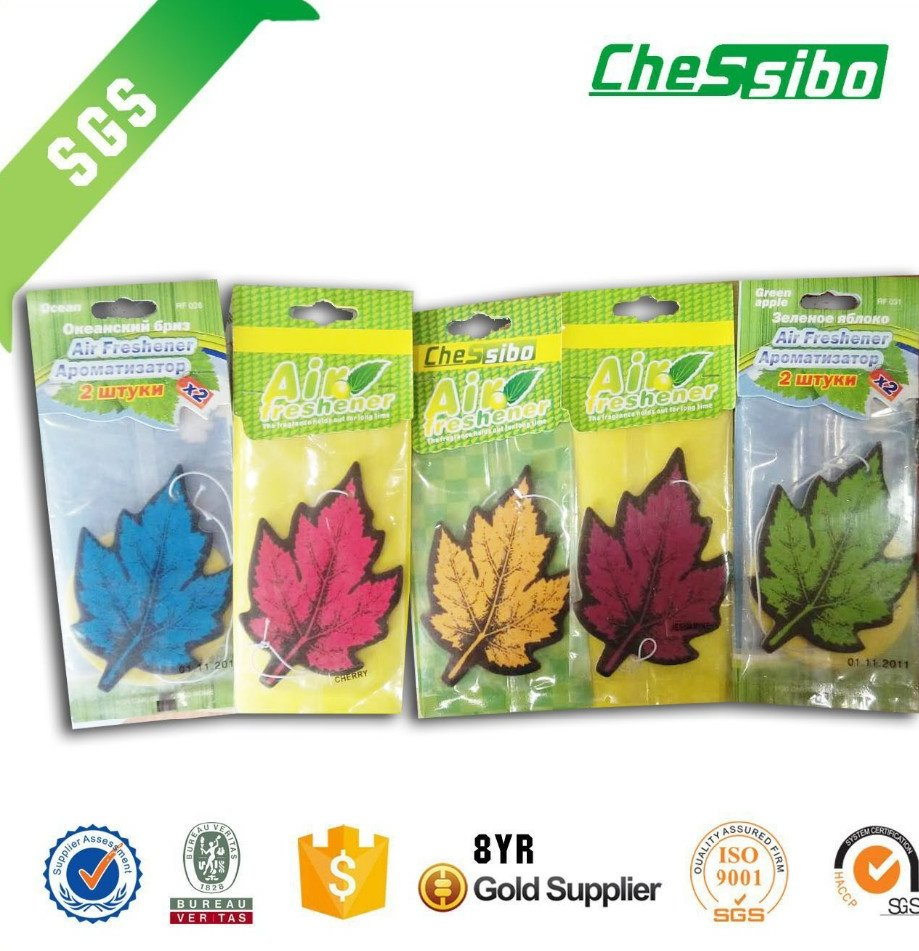 Leaf shape customized logo cotton paper car air fresheners wholesale support with free samples