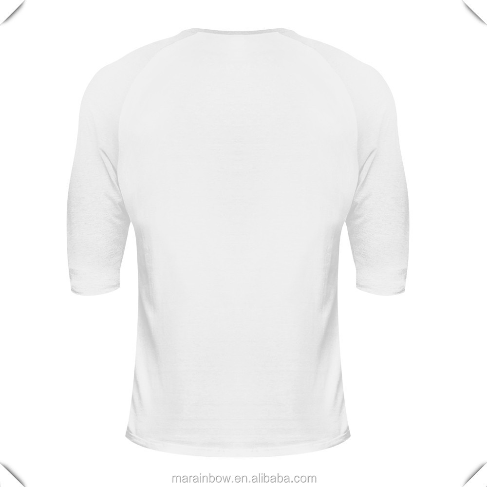 White 96% Cotton 4% Elastane Slim Fit Men's Gym T Shirt Raglan 3/4 Sleeve Fitness T shirts Custom Muscle Bodybuilding T-Shirt