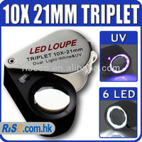 10x Magnification Triplet Lens with 6 Built-in LED UV Light 21mm Jeweler Loupe
