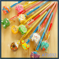 Free sample eco-friendly style cute stationery with eraser animal cheap wholesale short pencil with eraser