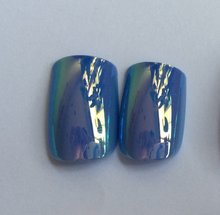 Girl Dress Nail Art Design Fake Nail Tips Cute Artificial Fingernails pearlise metallic blue false nails
