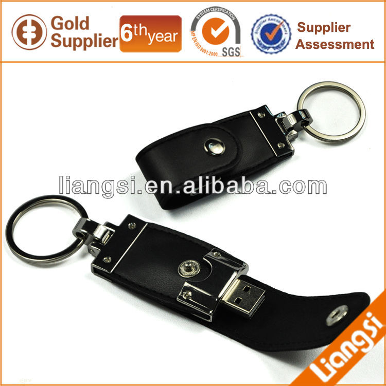 Business gift leather USB key chain