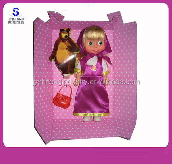 Lovely 12 inch Vinyl Russia Masha Baby Doll Toy with Russia Song