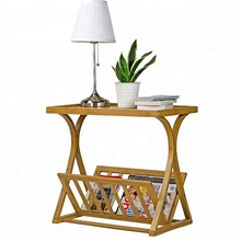 KD Home furniture table magazine and lamp bamboo table with storage <strong>shelf</strong> for bedroom or living room