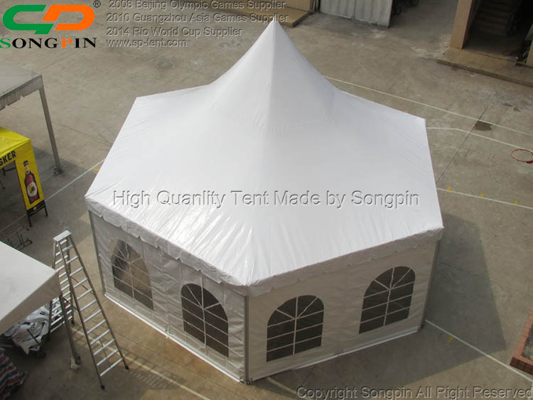 2019 Fancy Diameter 8m heavy duty hexagon pagoda tent in strong Aluminum frame for garden party
