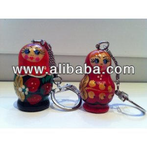 Russian key chain wooden nesting dolls matryoschka wholesale