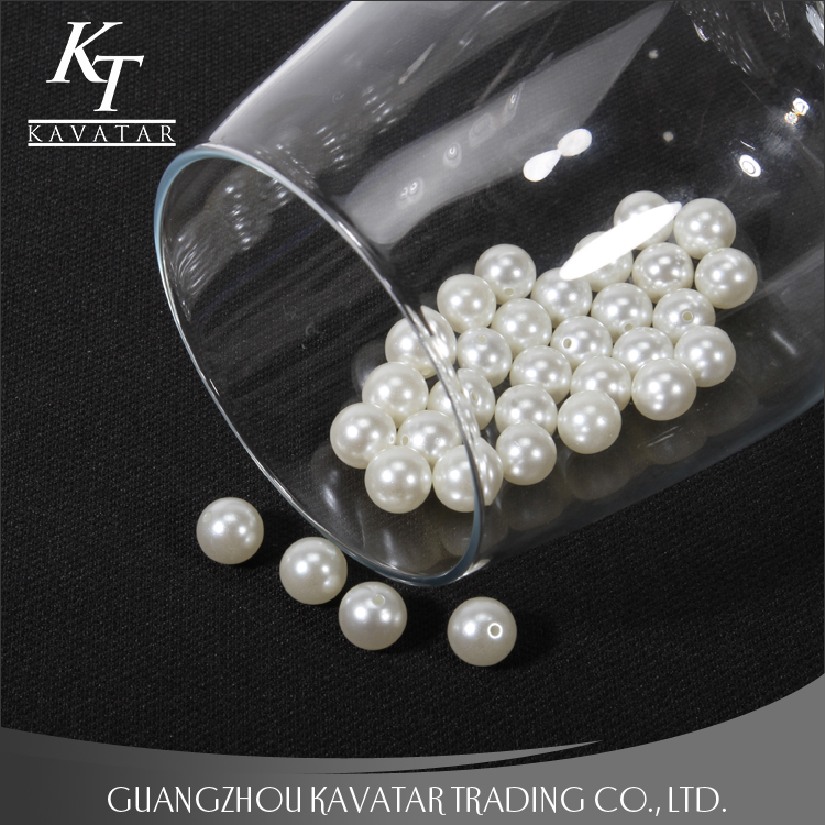 Fashion hot sell crystal imitation pearl with holes for wedding dress