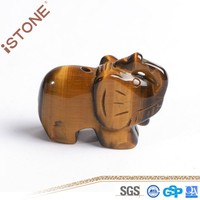 New Tiger Eye Elephant Figurine Stone Crafts For Feng Shui Reiki Healing & Home Decoration