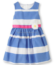 Beautiful stripe cotton sleeveless new model flower baby girl dress