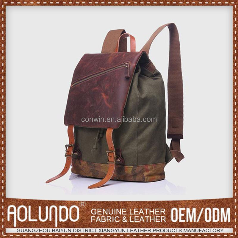 Nice Quality Personalized Men Vintage Canvas Backpack Rucksack Laptop Shoulder Bag Travel Camping Bag