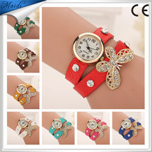 Amazing Vintage PU Leather Strap Butterfly Bracelet Quartz Watch Rhinestone Lady Retro Watch Fashion Lady Watch WW029