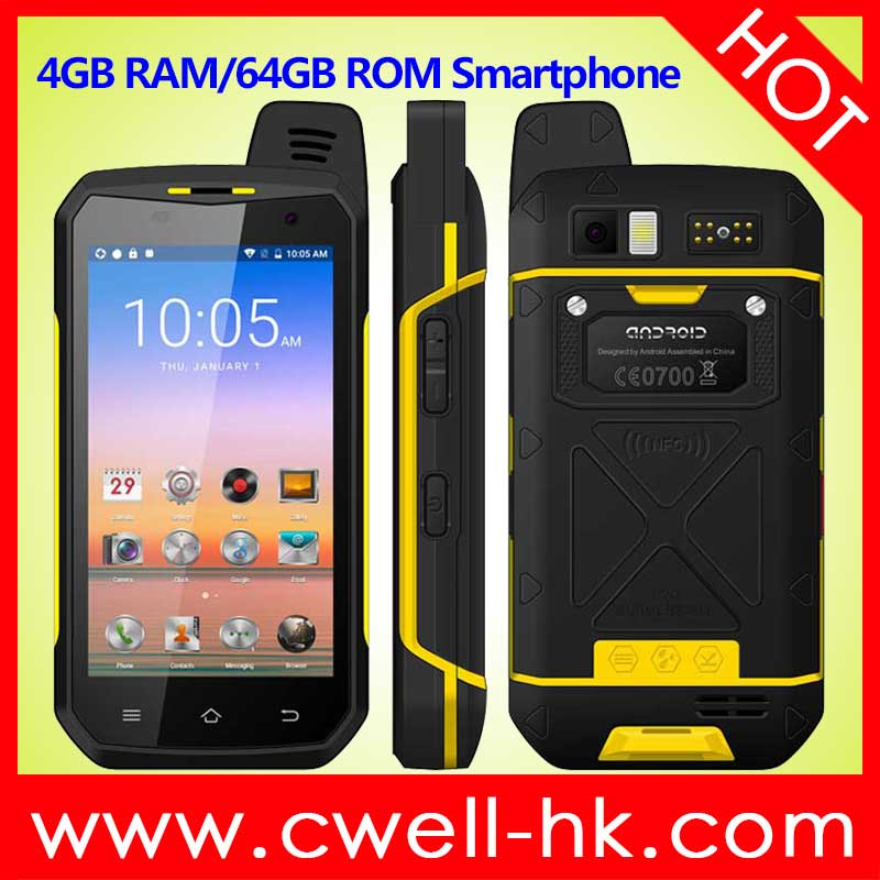 UNIWA B6000 4.7 Inch IPS Screen 4GB RAM/64GB ROM IP68 Waterproof <strong>Android</strong> Rugged Mobile <strong>Phone</strong>