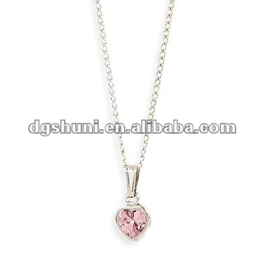 Pink Cubic Zirconium CZ necklace with silver plated
