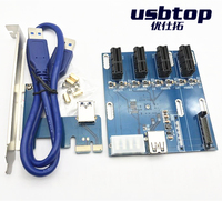 NEW aad in card PCIe 1 to 4 PCI express 1X slots Riser Card Mini ITX to external 4 PCI-e slot adapter PCIe Port Multiplier Card
