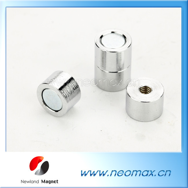 Customized small magnetic pot with screw hole with strong pull force for hot sale