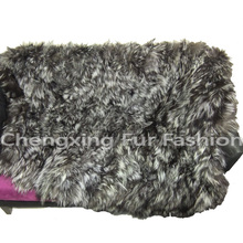 CX-D-73B Naturale Colore Patchwork Rex Rabbit Fur Rimessa Laterale Coperta
