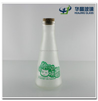 350ml 12oz frosted glass beverage bottles alcoholic beverage glass bottle with silk printing with cork for sale