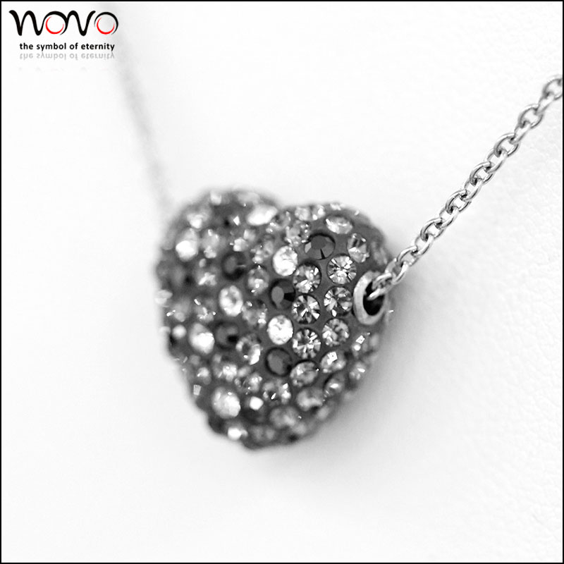 Stainless Steel crystal heart pendant atatement necklace