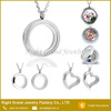 Stainless steel Round necklace memory floating Interchangeable locket pendant Jewelry