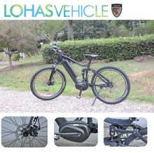 Lohas Bicycle 2017 full suspension mid drive bafang motor 350w fat tire mountain electric bike
