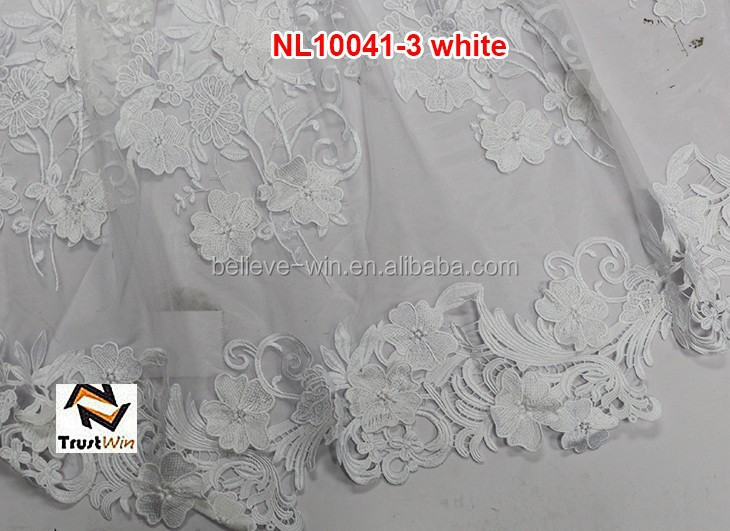 Wholesale price applique designs white wedding lace african french net lace NL10041