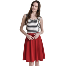 patch work dress 2017 women vintage fashion V neck black and white striped red knit dress sleeveless patchwork dresses