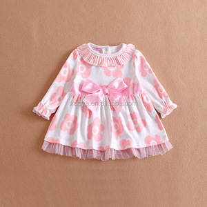 2017 Casual Baby Cotton Summer long sleeve kid floral dress