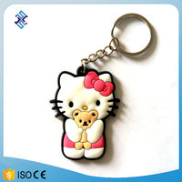 personalized keychain Lovely cat shaped soft PVC keychain cat key ring