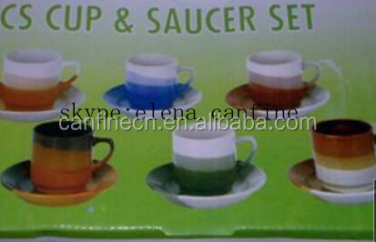 2016 hot sale cheap proce 3 color cup and saucer