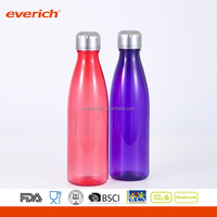 2016 Plastic Cheap Coke Water Bottles With Stainless Steel Lid And Base