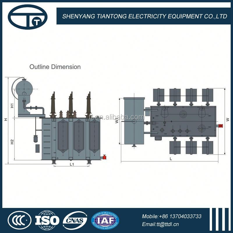 3 phase oil immersed 66KV power transformer with NLTC