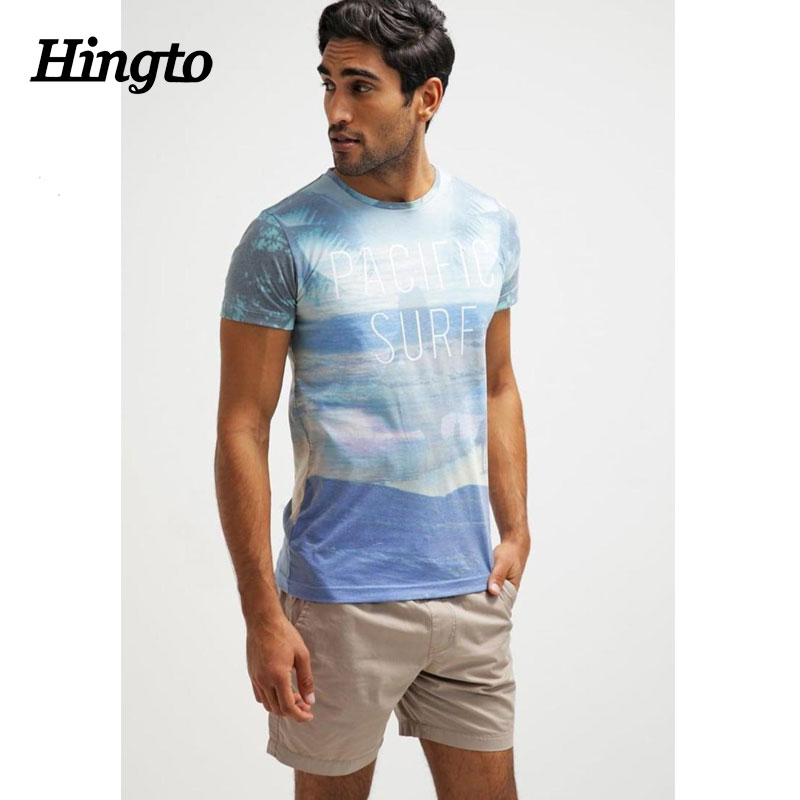 New men shorts sleeve cotton polyester muliticolor print t shirts guangzhou factory