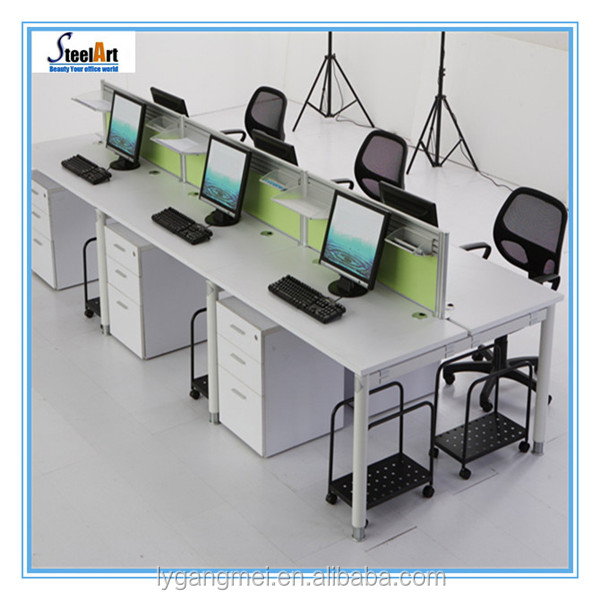 Cubicle wooden computer workstation office desk for 3 person