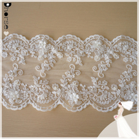 DHBL1848 Ivory Beaded w/Sequins 2WAY LYCRA SCALLOPED Bridal Trim Lace By the Yard