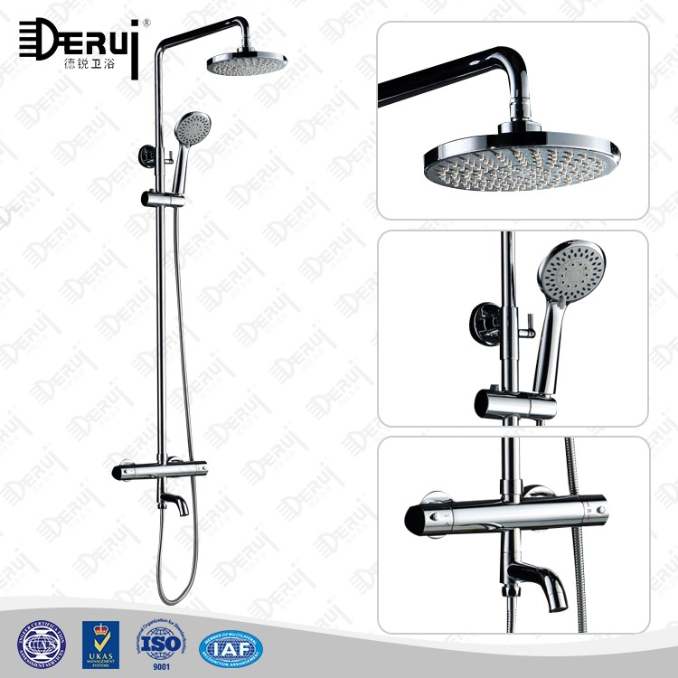 European Hot Cold Water Thermostatic Shower Faucet Mixer / Rain Bath Shower Sets