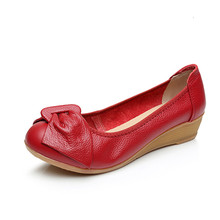 cheelon shoe comfortable soft leather nurse shoes made in china cheap casual low heel wedge shoes ladies