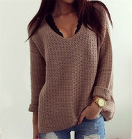 B30842A Europea fashion spring/autumn women sexy hollow out v-neck loose sweater